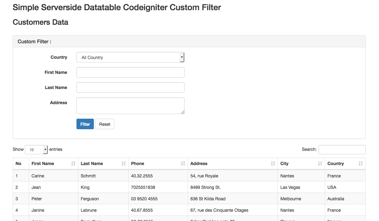 (Codeigniter) Server-side DataTables Bootstrap with Custom